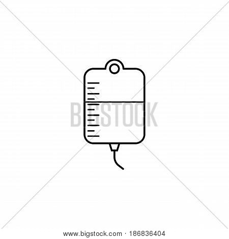 Drop counter with blood line icon, blood donor and medical element, vector graphics, a linear pattern on a white background, eps 10.
