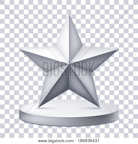 Five-pointed star on the illuminated podium, award pedestal icon on a transparent background, geometry shape, vector design for you project
