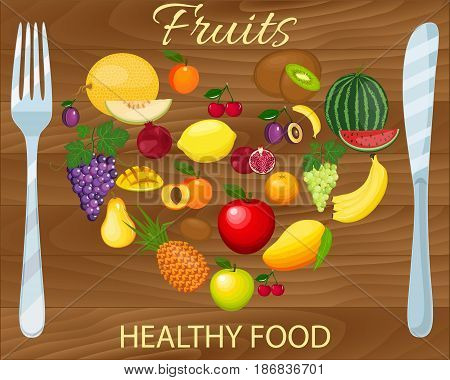 Fresh organic food.Set of fruits . Vector vegetarian organic healthy food cuisine. organic natural realistic fruits. Veggie Lover Elements
