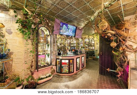 MOSCOW - AUGUST 2014: Vintage interior of the restaurant of French cuisine