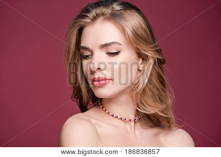 Close Up Portrait Of Young Stylish Beautiful Woman With Makeup, Young Woman Face
