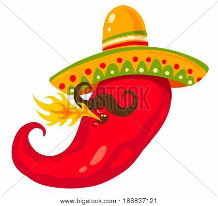 Vector illustration of a chili pepper in sombreco. Cartoon chili for mexican food.
