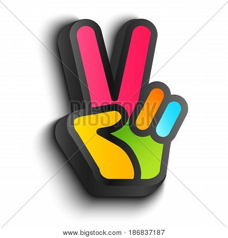 Vector icon with colorful hand and peace symbols. Hand and two fingers are like peace symbol.