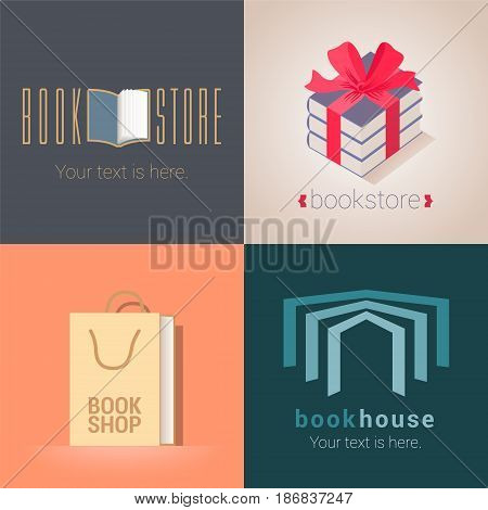 Collection of bookstore, bookshop vector emblems, logo. Template design elements with book as a bag, present for e-book store
