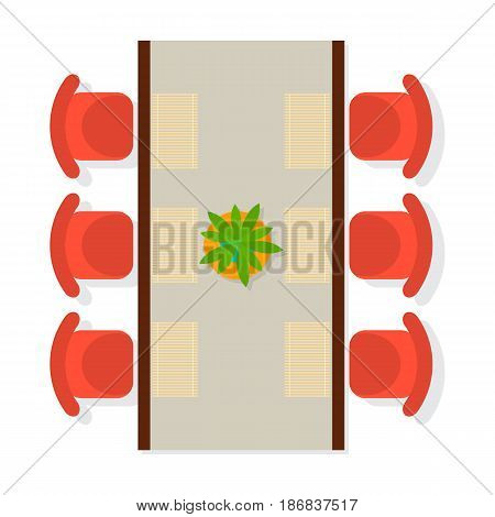Top view dining room interior element isolated on white background vector illustration. Apartment furniture design with table, flower and chair in flat design