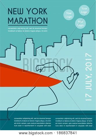 number one winner at a finish line. poster design template. vector illustration