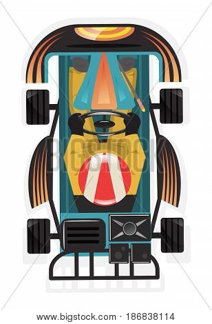 Top view kart racer icon isolated vector illustration. Extreme auto sport competition, road trophy race championship, driver racing on go kart.