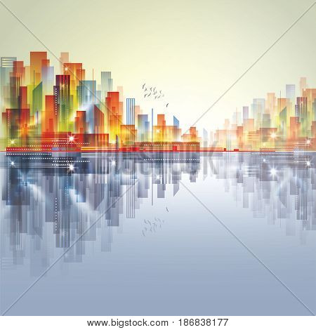 Modern City Skyline With Reflection On Water Surface