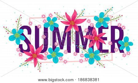 Vector summer banner with colofful flowers. Banner for summer.