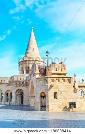 Fisherman Bastion on the Buda hill in Budapest, Hungary