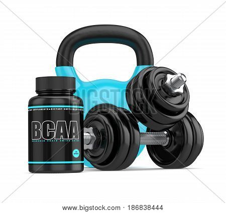 3D Render Of Bcaa Bottle With Dumbbells And Kettlebell