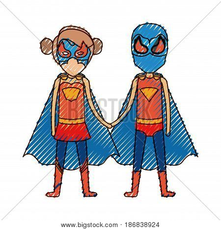 colored pencil silhouette with faceless duo of superheroes united of the hands and her with collected hair vector illustration
