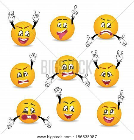 Joyful and sad smileys with hands gesture set. Happiness, anger, joy, fury, sad, playful, fear, surprise smiley, fun comic faces with different facial expressions. Isolated vector emoji characters