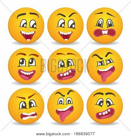 Comic yellow faces icons set for web. Emoticons or cute smileys faces with different facial expressions. Happiness, anger, joy, fear, surprise smiley, round emoji isolated vector characters.