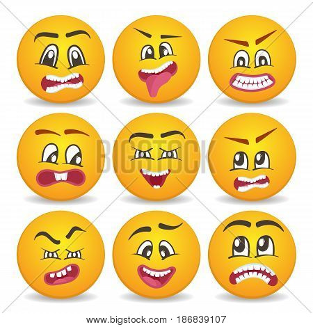 Funny smileys 3d faces isolated vector icon set. Comic yellow round emoticons, emoji characters with different facial expressions. Happiness, anger, joy, fury, sad, playful, fear, surprise smiley.