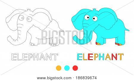 Coloring page for the children with elephant and hand draw letters. Vector illustration
