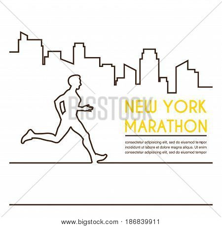 Line silhouettes of female runner. Running marathon, poster design. Vector illustration