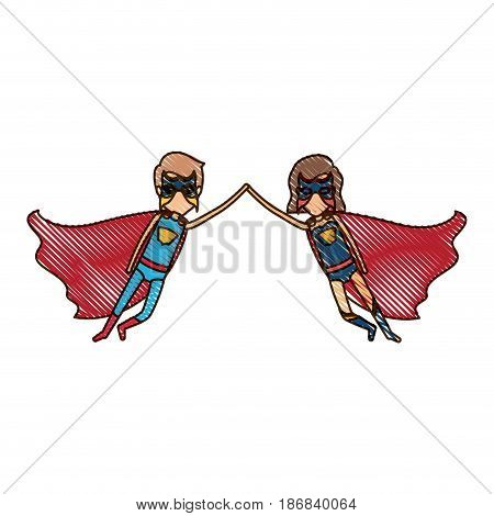 colored pencil silhouette with faceless couple of superheroes flying united of the hands and her with short hair vector illustration
