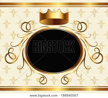 Royalty style event invitation template with golden crown and copy space for text. Medieval heraldic background, monarchy design element, elegant aristocratic greeting card vector illustration.