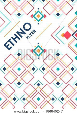 Vertical background with geometric ethnic ornament. ethno abstract poster template with place for text.