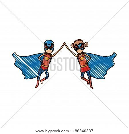 colored pencil silhouette with faceless duo of superheroes flying united of the hands and her with collected hair vector illustration