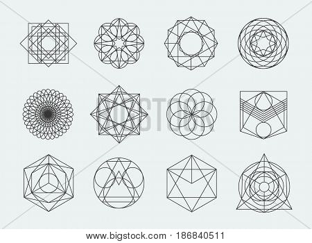 Sacred geometry symbols collection. set of hipster, abstract, alchemy, spiritual, mystic elements on white background