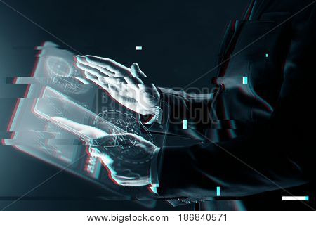 business, people and future technology concept - close up of businessman with transparent tablet pc computer and virtual screen projection over virtual glitch effect