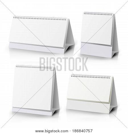 White Blank Paper Desk Spiral Calendar. Spiral Calendar Vector Template. Vertical Table Calendar
