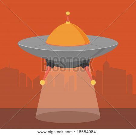 Spaceship with dark city background flat vector
