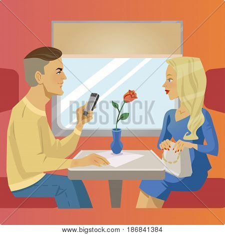 Man and woman sit near window at train restaurant or cafe. Traveling situation. Railway traveling banner.
