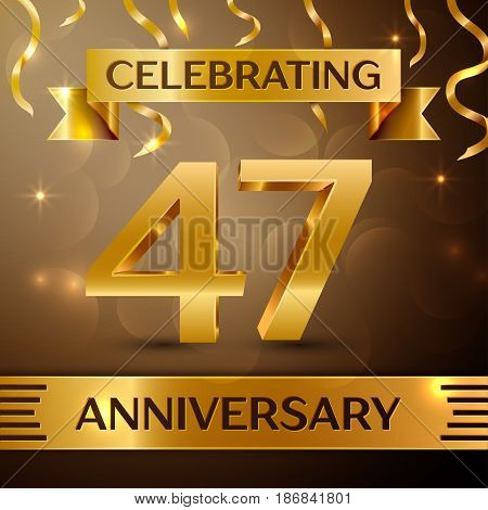 Forty seven Years Anniversary Celebration Design. Confetti and gold ribbon on golden background. Colorful Vector template elements for your birthday party. Anniversary ribbon
