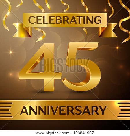 Forty five Years Anniversary Celebration Design. Confetti and gold ribbon on golden background. Colorful Vector template elements for your birthday party. Anniversary ribbon