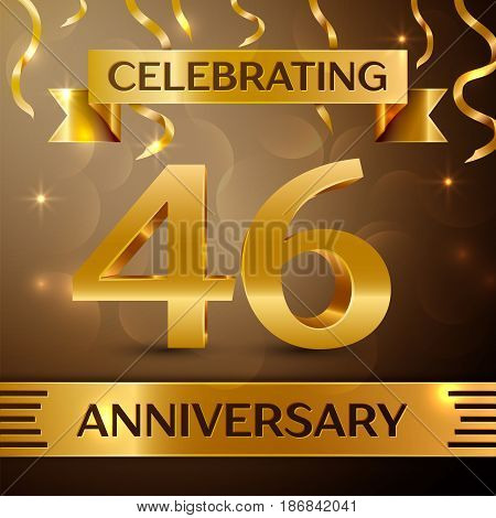 Forty six Years Anniversary Celebration Design. Confetti and gold ribbon on golden background. Colorful Vector template elements for your birthday party. Anniversary ribbon