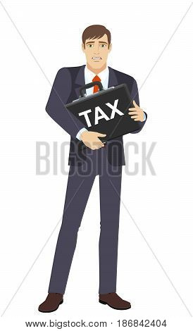Businessman with two hands grabbed the briefcase. Businessman does not want to pay tax. Full length portrait of businessman character in a flat style. Vector illustration.