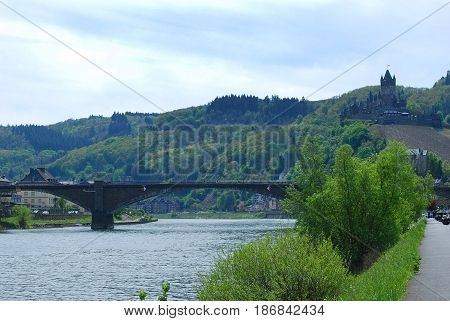 Cochem castle bridge and river Mosel Germany