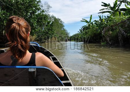 Tourists Enjoying Mekong Delta Cruise With Daily Trip In A Boat