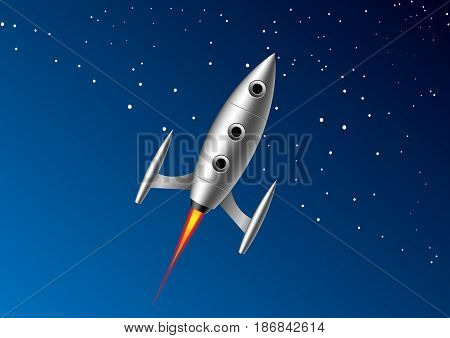 rocket that flies with a tail of fire on background starry space space