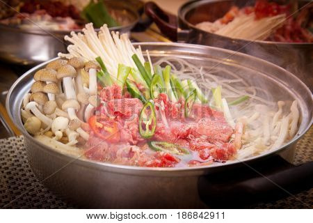 Korean Hot Pot Of Beef With Mushroom, Onion And Chili