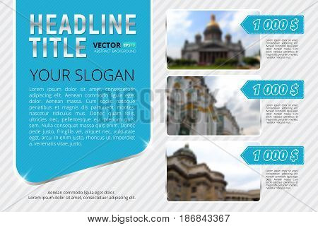Business flyer or banner template with blur background and place for your text. Use this vector layout for design your website or publications.