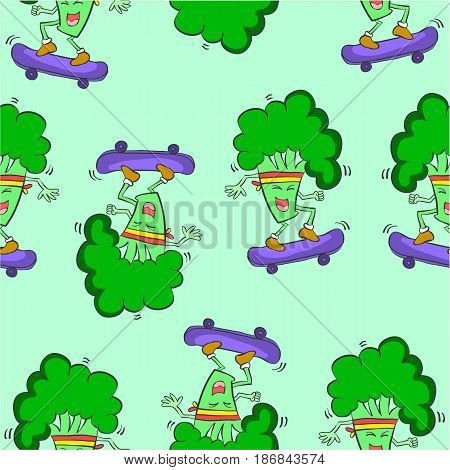 Pattern with green broccoli collection vector illustration