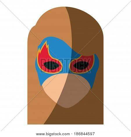 colorful silhouette with faceless girl superhero with hair straight and mask and without contour vector illustration