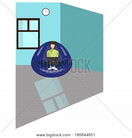 Young adult man working at home vector concept illustration. Freelancer character working from home with laptop sitting
