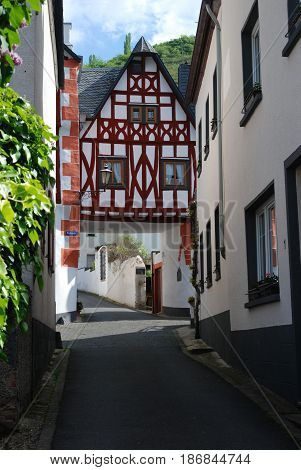 old historic streetand woodframed house in Ediger Mosel Germany