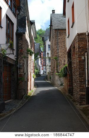looking up old historic street in Ediger by Mosel Germany