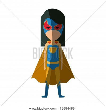 colorful silhouette with faceless standing girl superhero with short straight hair and without contour vector illustration