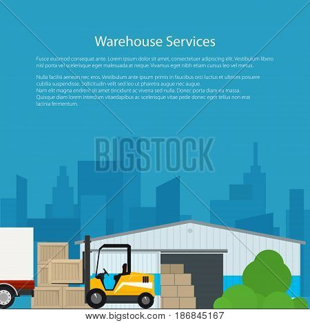 Flyer Warehouse Services , Warehouse with Forklift Truck on the Background of the City, Transportation and Cargo Services and Storage, Brochure Poster Design, Vector Illustration