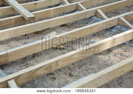 Soft focused picture of Flooring support for flooring on the floor