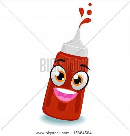 Vector Illustration of Tomato Ketchup Bottle Mascot