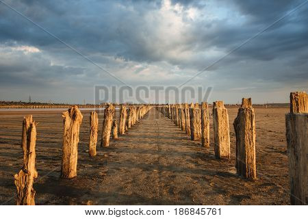 View at a saline with wooden stakes for gathering salt. Kuyalnik saline at sunset.