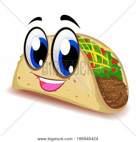 Vector Illustration of Taco Mascot Smiling Face